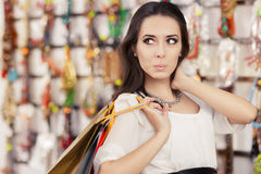 Surprised Beautiful Woman Shopping Royalty Free Stock Photos