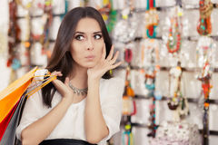 Surprised Beautiful Woman Shopping Stock Photo