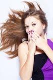 Surprised beautiful young woman Stock Photos