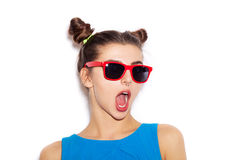 Surprised Beauty  Brunette Woman in sunglasses Stock Photography