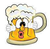 Surprised beer cartoon Stock Images