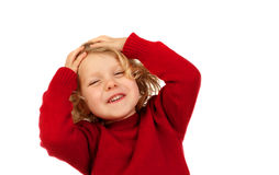 Surprised blond child with blue eyes Royalty Free Stock Photo