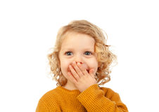 Surprised blond child with blue eyes. Isolated on a white background Stock Photography