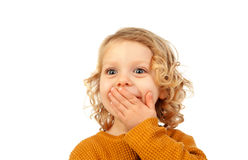 Surprised blond child with blue eyes. Isolated on a white background Stock Image