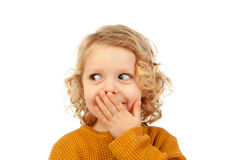 Surprised blond child with blue eyes. Isolated on a white background Royalty Free Stock Images