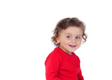 Surprised blond child with blue eyes. Isolated on a white background Royalty Free Stock Photos