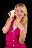 Surprised blond girl with big royalty free stock photo