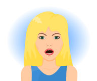 Surprised blond woman. Face with open mouth, vector illustration Stock Image