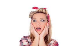 Surprised blonde girl with blue eyes in pinup style. Isolated on a white background Royalty Free Stock Images