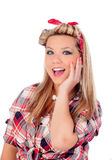 Surprised blonde girl with blue eyes in pinup style Royalty Free Stock Photos