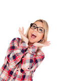 Surprised Blonde Girl with glasses Royalty Free Stock Photos