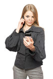 Surprised blonde in a gray business suit Royalty Free Stock Images