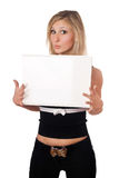 Surprised blonde holding white board Royalty Free Stock Photography