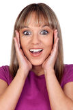 Surprised blonde woman Royalty Free Stock Images