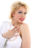 Surprised blondie woman. Marilyn Monroe imitation Royalty Free Stock Photography