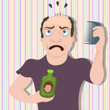 Surprised bold man. Vector illustration of a surprised bald man, because his miracle cure didn't work well stock illustration