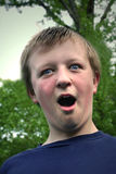Surprised Boy. Portrait of preteen boy with surprised expression royalty free stock photos