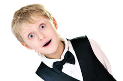 Surprised boy. Surprised elegant boy over the white Stock Photos