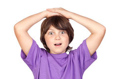 Surprised boy. Isolated on white background Royalty Free Stock Photos