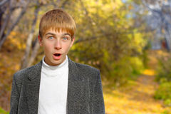 Surprised boy. Amazed surprised and shocked schoolboy at park Royalty Free Stock Images