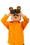 Surprised boy with binocular. Surprised boy looking up through binocular siolated on white background Royalty Free Stock Image