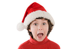 Surprised boy in christmas Royalty Free Stock Photography
