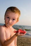 Surprised  boy holds a red starfish Royalty Free Stock Image
