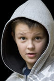 Surprised boy in hood Royalty Free Stock Image