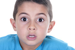 Surprised boy isolated Stock Images
