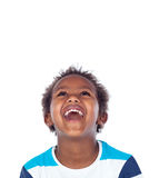 Surprised boy laughing out loud. Isolated on a white background Stock Images