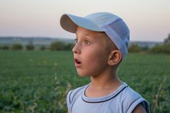 Surprised boy looks,the boy in the cap is white Stock Photos