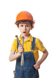 Surprised boy in a protective helmet Royalty Free Stock Photography