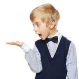 Surprised boy showing something Royalty Free Stock Photos