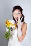 Surprised bride portrait Stock Images