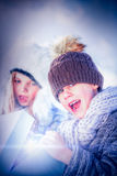 Surprised brother and sister opening present Royalty Free Stock Photography