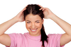 Surprised brunette girl laughing Royalty Free Stock Photography