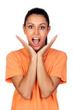 Surprised brunette woman Stock Images
