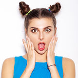 Surprised Brunette Woman. Beauty girl with bright makeup Royalty Free Stock Photos