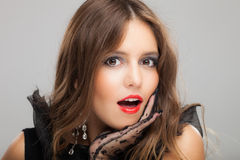 Surprised brunette woman fashion portrait Stock Photography