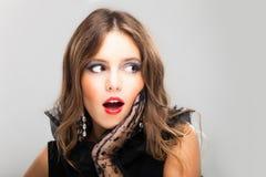 Surprised brunette woman fashion portrait Royalty Free Stock Photo