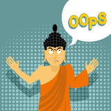 Surprised Buddha says oops. Perplexed Indian god. Style of pop a Stock Photos