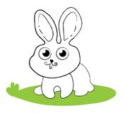Surprised bunny rabbit sitting on green grass. Comic style line art icon. Use as illustration for childrens coloring. Wallpaper in nursery developing task in Stock Images