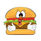 Surprised burger cartoon Royalty Free Stock Photos