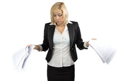 Surprised business lady with white sheets Royalty Free Stock Images