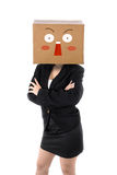 Surprised Business woman with brown box face Stock Photo