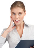 Surprised business woman with documents Royalty Free Stock Image