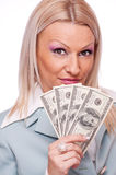 Surprised business woman with Dollars Royalty Free Stock Image