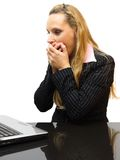 Surprised business woman in her office Stock Image