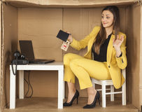 Surprised business woman holds the trap of a bribe. Surprised businesswoman holds the trap of a bribe Stock Image