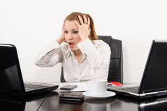 Surprised business woman multitasking Royalty Free Stock Photo